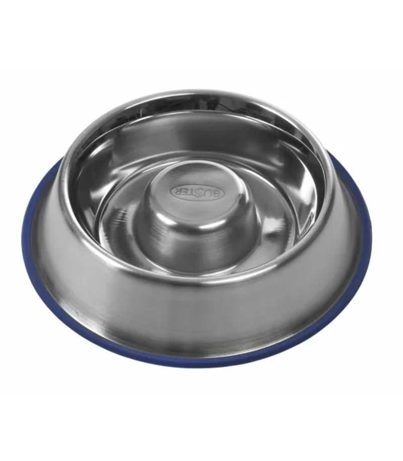 rund hundeskål i sølv til hunde der spiser for hurtigt